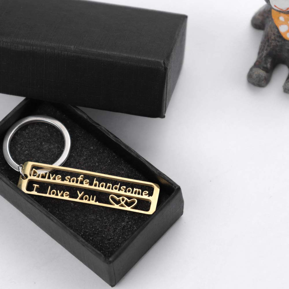 Drive Safe Keychain Personalized Key Chain Hollow Words Gift