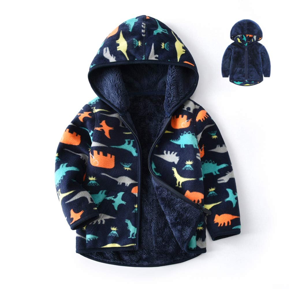Feidoog Toddler Polar Fleece Jacket Hooded/ Baby Boys Girls Autumn Winter Long Sleeve Thick Warm Outerwear