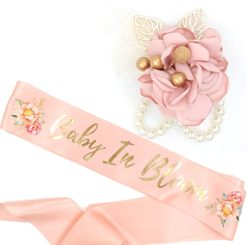 Baby in Bloom Sash & Wrist Corsage Kit - Blush Peach Baby Shower Sash Baby Shower Favors New Mom Gifts