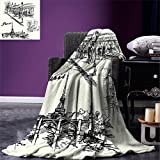smallbeefly Eiffel Tower Digital Printing Blanket Paris Sketch Style Cafe Restaurant Landmark Canal Boat Lantern Retro Print Summer Quilt Comforter Black White