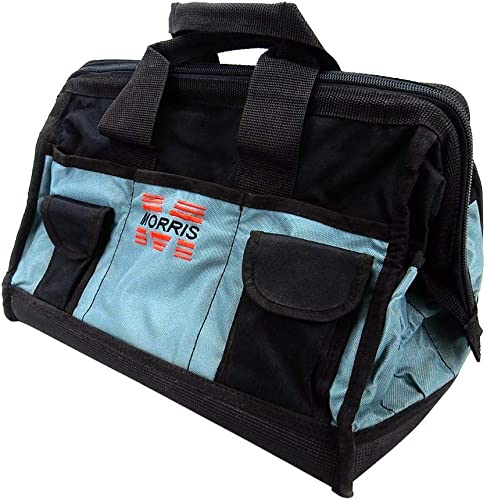 16-inch Wide Mouth Tool Bag – Heavy Duty, Durable, Water-Resistant, 38 Pocket – Wide Mouth Tool Tote Bag with Inside Pockets for Tool Storage