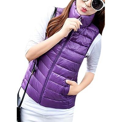 Fulok Women's Lightweight Winter Packable Zipper Down Puffer Vest