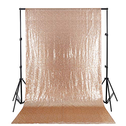 QueenDream Elegant Rectangular Sequin Backdrop Fabric 4ftX6.5ft Rose Gold Sequin Backdrop for Party Decoration (10' Rose Rectangular)