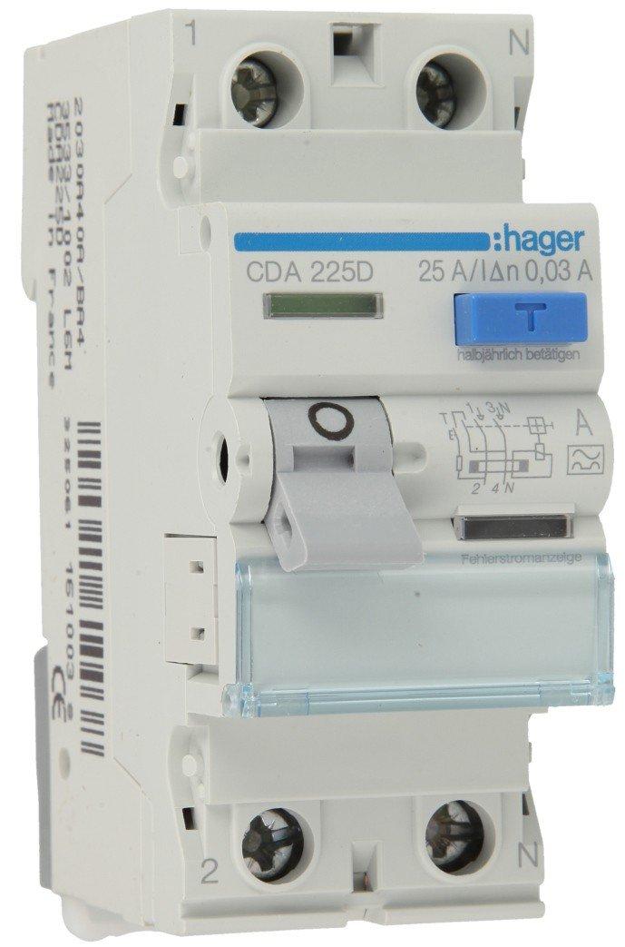 Hager CDA225D RCD 2P 25A 30mA 6kA tipo A