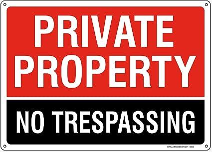 Amazon.com: Señal de propiedad privada sin traspaso. 14 x 10 ...
