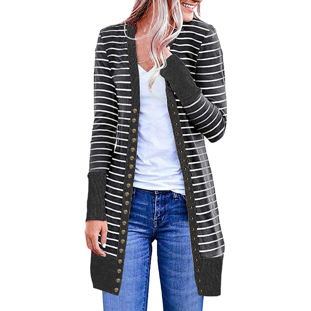 Long Sleeve Cardigan HAALIFE◕‿ Women Boho Open Front Colorblock Stripe Long Sleeve Loose Knit Lightweight Sweaters Dark Gray by HAALIFE Women's Clothing
