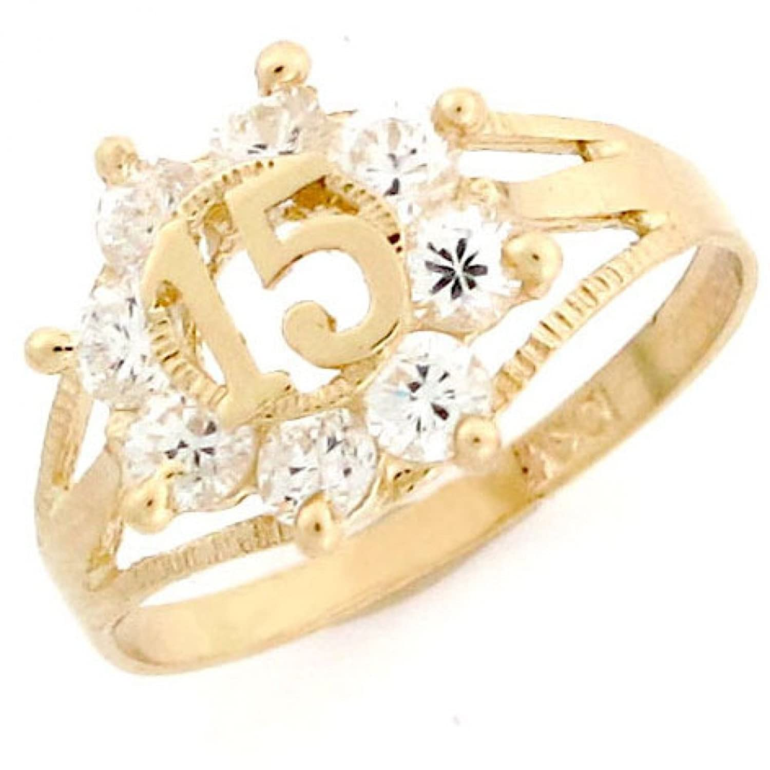 10k Yellow Gold Colorful Simulated Gemstone and CZ 15 Anos Quinceanera Ring