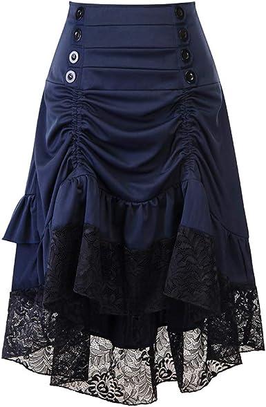 YUANDONGXING Falda Gótica Steampunk para Mujer Falda Plisada De ...