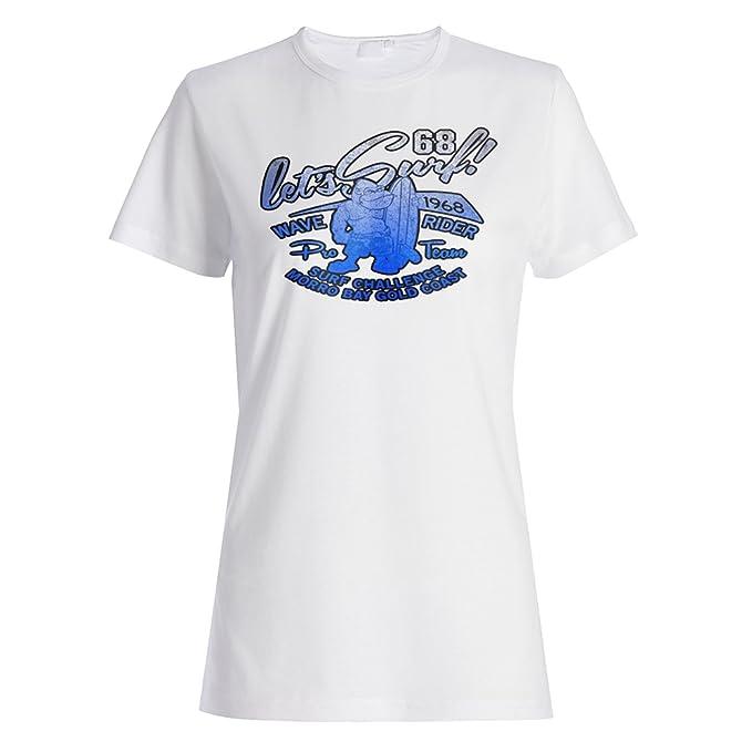 INNOGLEN Vamos a navegar Monkey Wave Rider Camiseta de Las Mujeres z719f: Amazon.es: Ropa y accesorios
