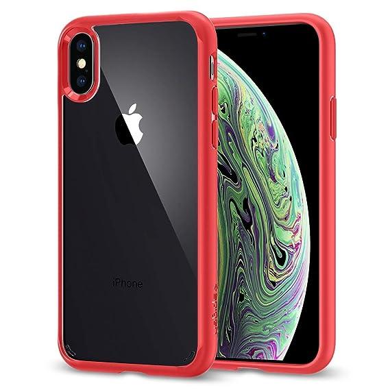 sports shoes 42e96 4b088 Spigen Ultra Hybrid Designed for Apple iPhone Xs Case (2018) / Designed for  Apple iPhone X Case (2017) - Red