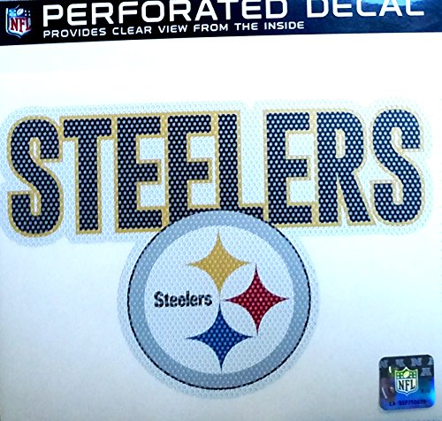 """Pittsburgh Steelers 8"""" Perforated Auto Window Film Glass Decal Football by Stockdale"""