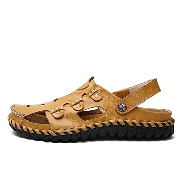 e49f6aff4e157a LIANGXIE Men s Outdoor Beach Sandals And Slippers Daily Casual Leather  Hollow Head Hand-stitched Hole