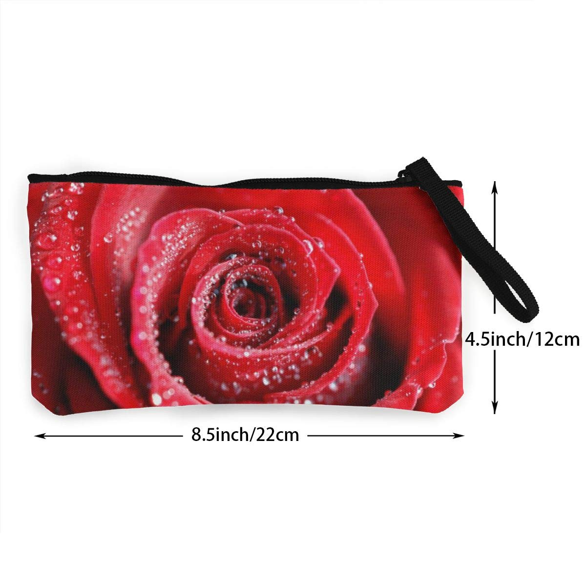Canvas Cash Coin Purse,Water Red Rose Print Make Up Bag Zipper Small Purse Wallets