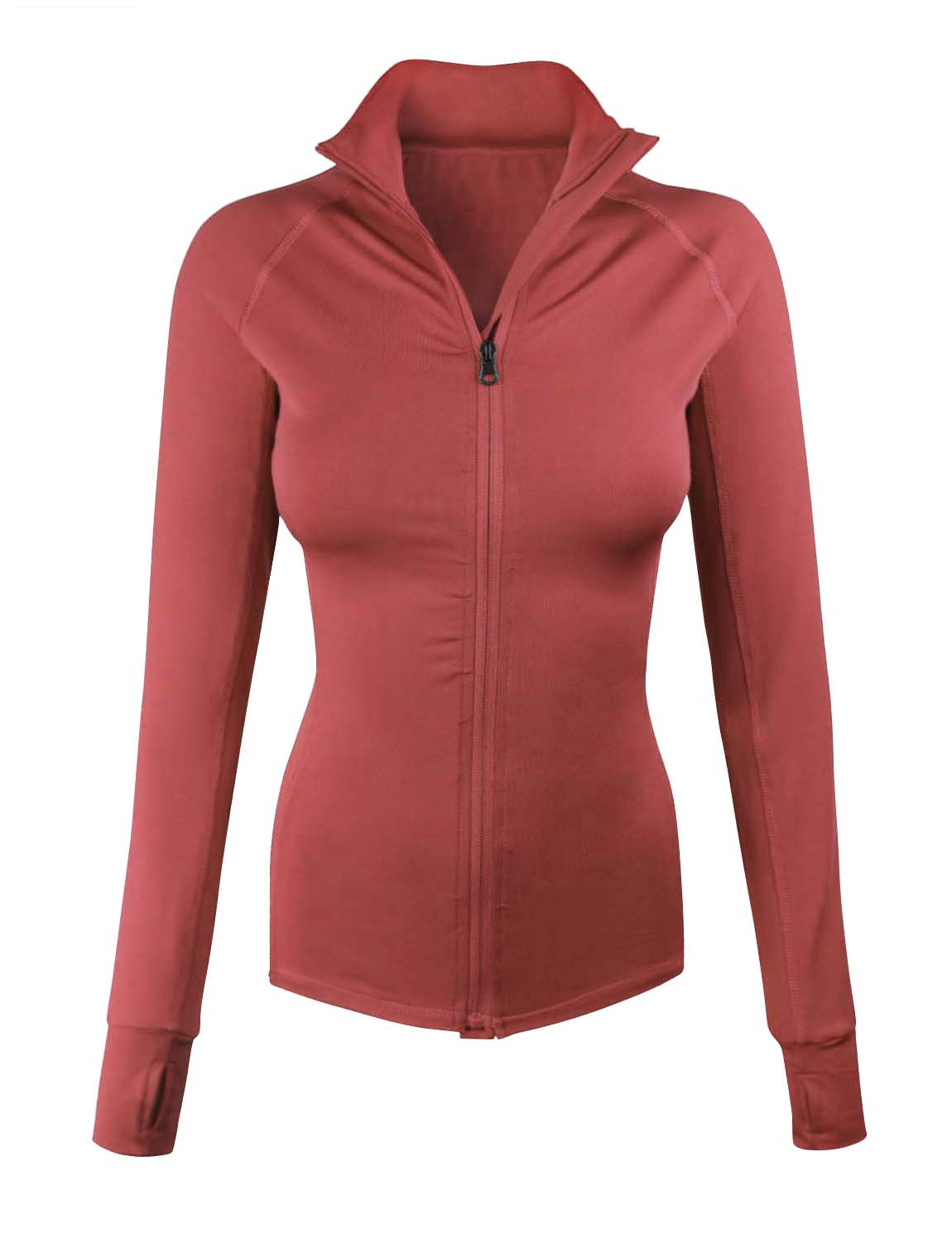 makeitmint Women's Comfy Zip up Stretchy Work Out Track Jacket w/Back Pocket Small YJZ0002_02MARSALA