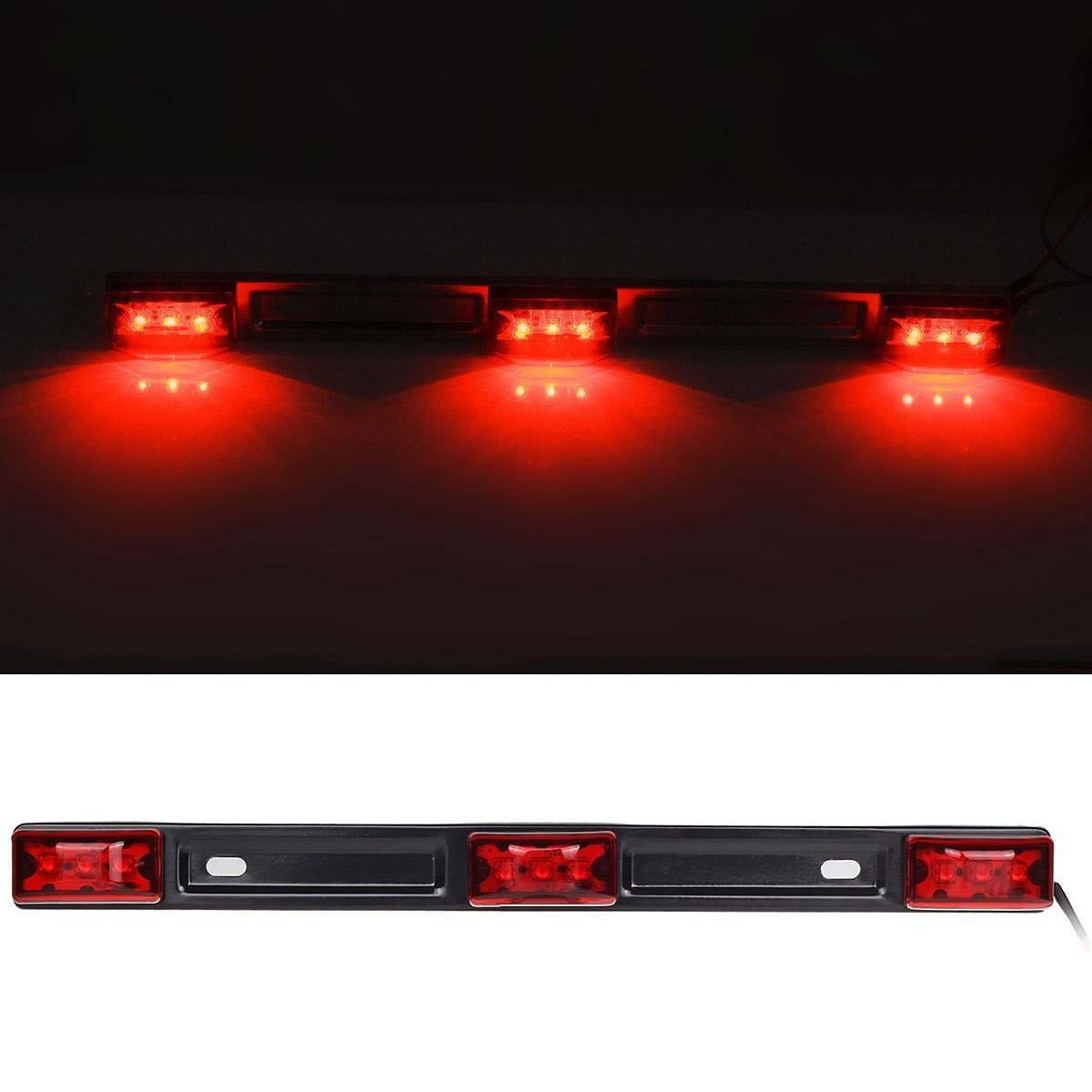 Partszone 3 Light 9 LED Trailer Sealed Stainless Steel Red Clearance ID BAR Marker Light