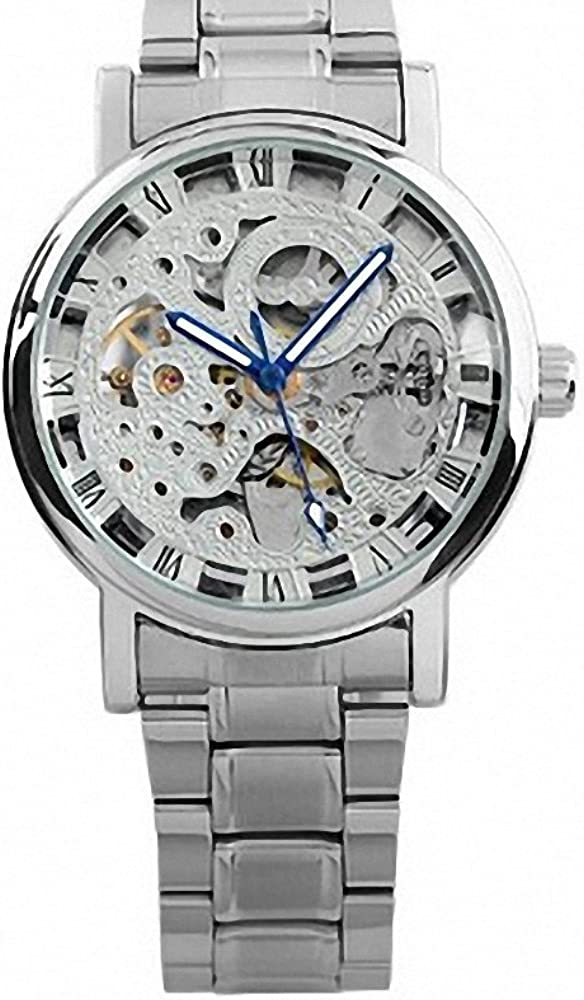 ESS Men s Silvered Stainless Steel Skeleton Automatic Mechanical Watch WM284