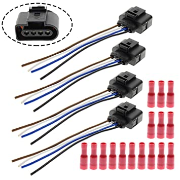 motoall ignition coil connector plug wire harness pigtail wiring loom 4 wire female for 1j0973724 2011340 volkswagen vw audi 4pcs plug harness &  crimp splice automotive wiring harness #9