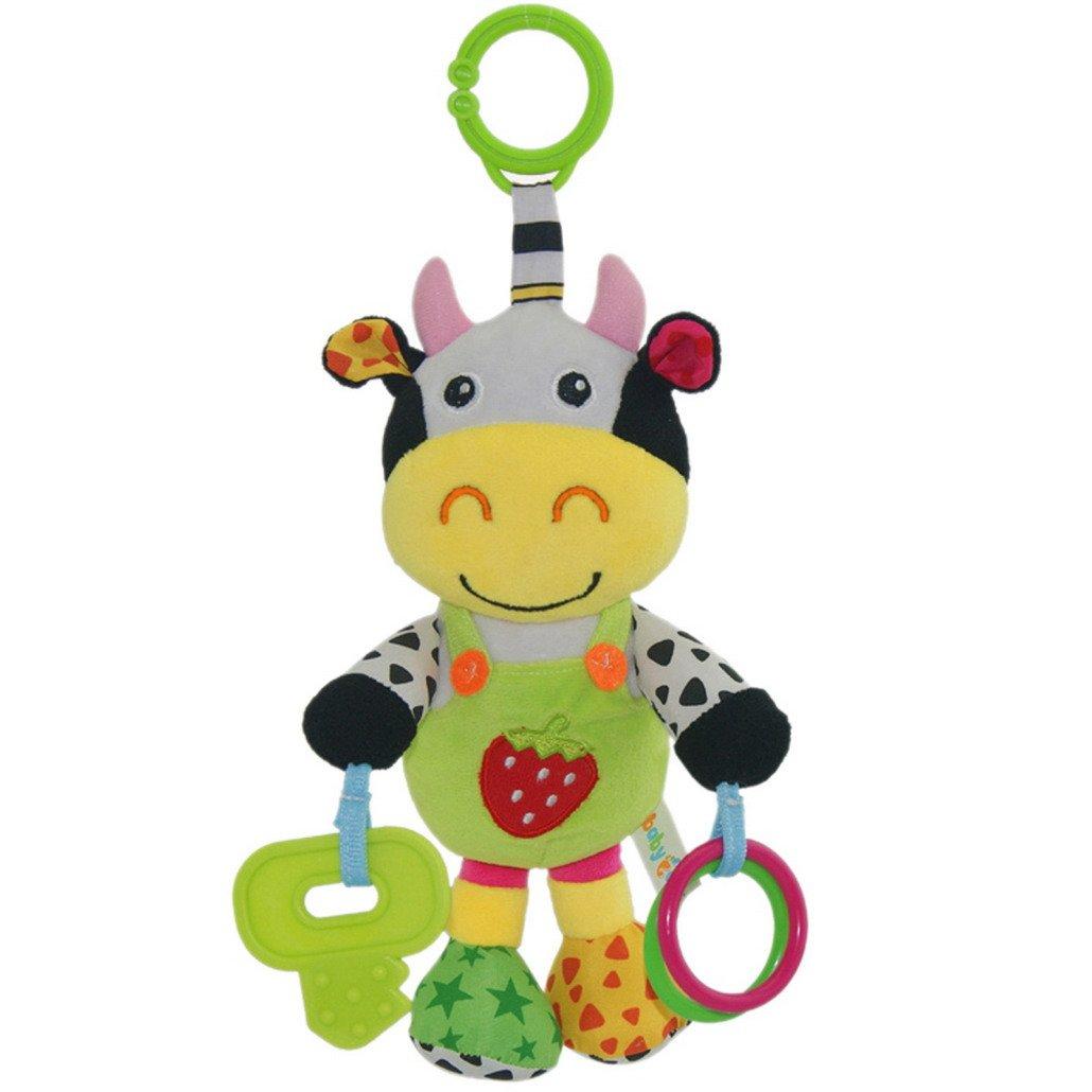 Happy Cherry - Hochet musique en peluche avec clé de dentition - Boîte à Musique d'éveil - Vache