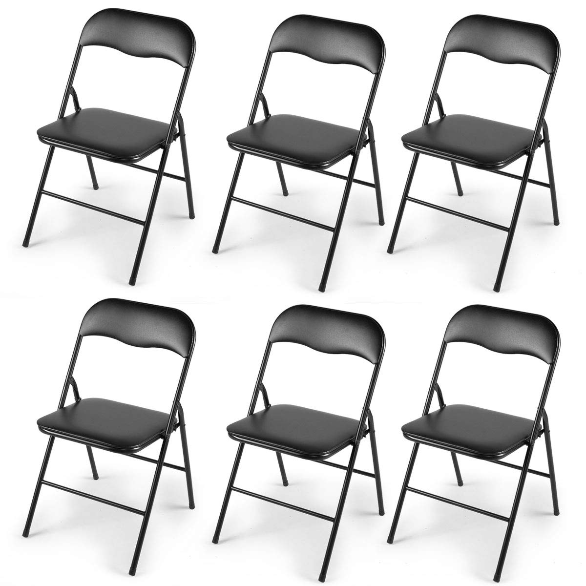 JAXPETY 6PCS Commercial Wedding Quality Stack-able Plastic Folding Chairs Black W/Soft Cushion by JAXPETY