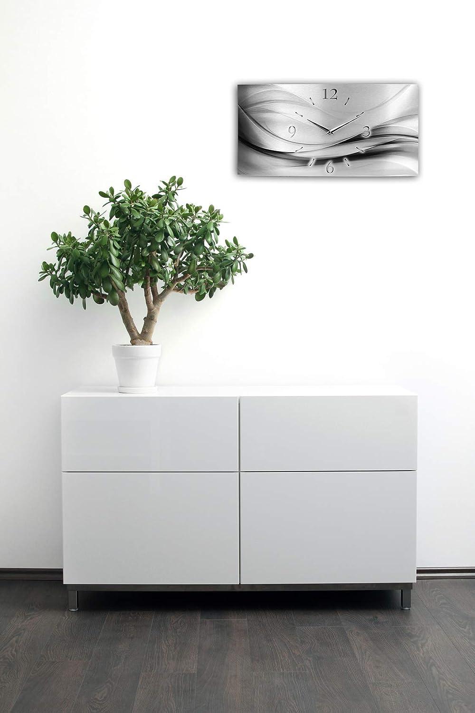 Kreative Feder Abstrakt Silber XXL XXL XXL Metallic Designer Funk Wanduhr Funkuhr modernes Design leise ohne Ticken  Made in Germany (50x25cm manuelle Quarzuhr) 89af2b