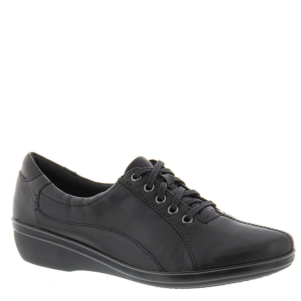 Clarks Women's Everlay Elma Lace Up Shoe,Black Leather,US 12 N