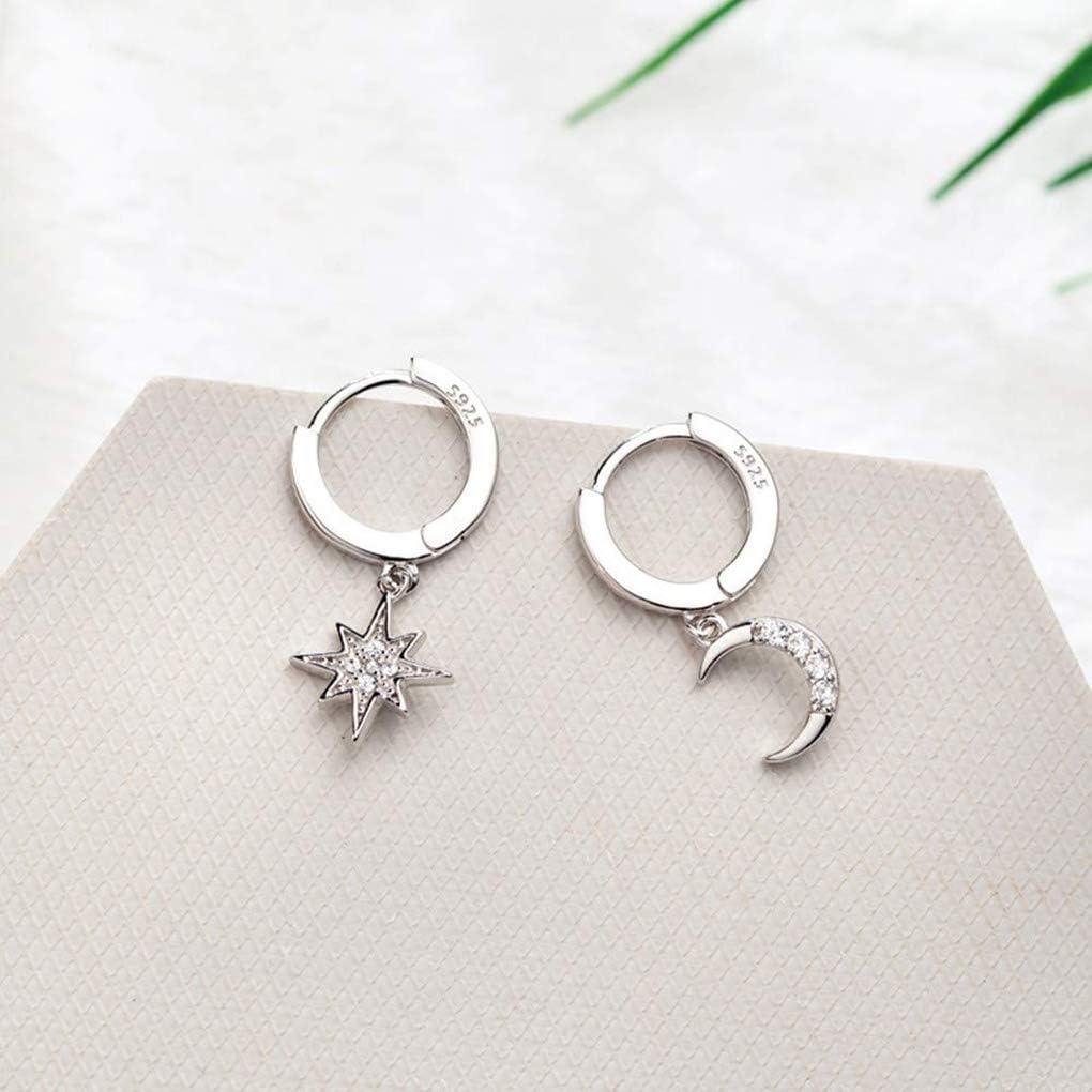 Crystal Star Moon Hoop Earrings Sterling Silver Star Drop Earrings for Women Teen Girls