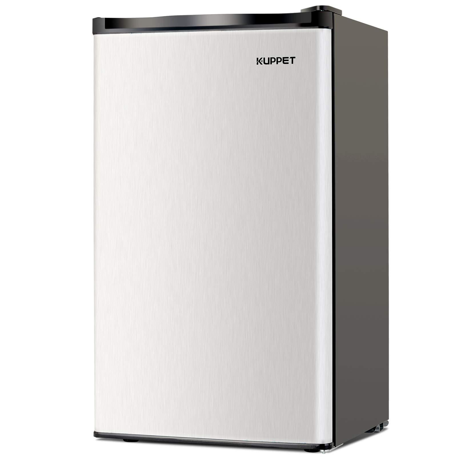 Kuppet-Mini Refrigerator Compact Refrigerator-Small Drink Food Storage Machine for Dorm, Garage, Camper, Basement or Office, Single Door Mini Fridge, 3.2 Cu.Ft,Stainless Steel