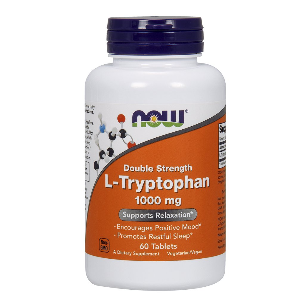 NOW L-Tryptophan 1000 mg,60 Tablets