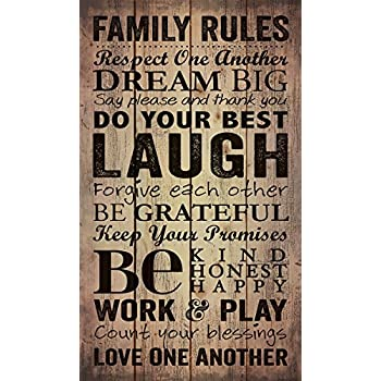 Country Printed Quality Wooden Sign Family Rules Promises Black Inspiring Pla...