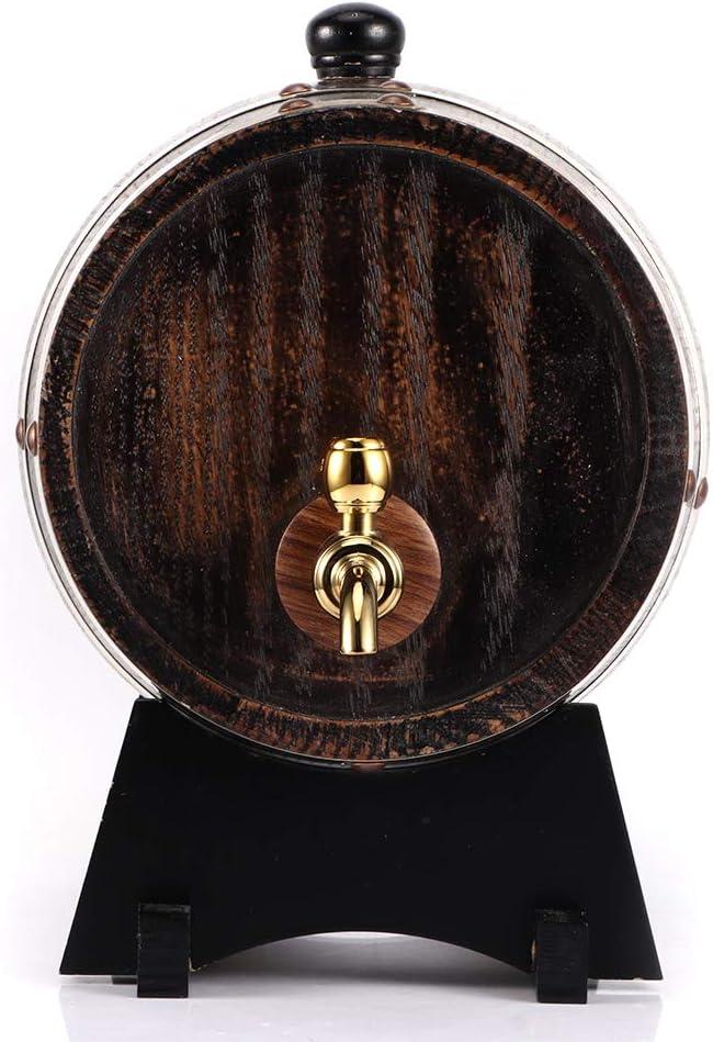 Botte di Legno per la Conservazione del Whisky al Brandy di Vino Rosso Distributore di Vino in Rovere Stile Retr/ò 3L