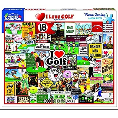 White Mountain I Love Golf - 1000 Piece Jigsaw Puzzle: Toys & Games