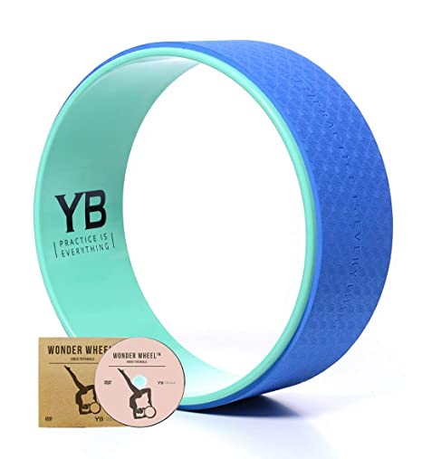 """Rueda de Yoga """"Wonder Wheel"""" por YOGABODY. De Color Azul/Turquesa. Viene Con Una Guía de Posturas en PDF y DVD incluidos. 38 Centímetros de Diámetro."""