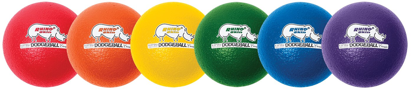 Champion Sports Rhino Skin Dodgeballs: 8 Inch Balls for Playground, PE, Backyard & League Games - Team Sports Equipment for Kids and Adults - Set of 6 by Champion Sports