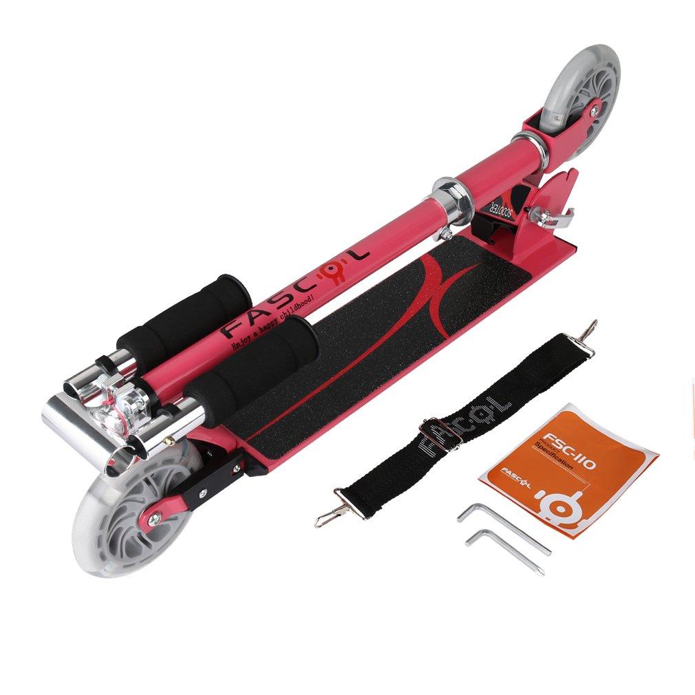 Blau Fascol Klappbar Kinder Scooter Tretroller Cityroller f/ür Kinder 3-9 Jahre Belastbarkeit bis 50 kg Leuchtr/äder und h/öhenverstellbarer