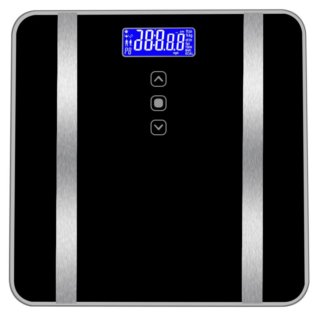 Transer- [US Stock] Body Fat Scale, Smart Digital Bathroom Weight Scale Body Composition Analyzer Health Monitor for Body Weight, Fat, Water & Bone Mass, BMI, Muscle Mass, Calories, 400 lbs (Black)