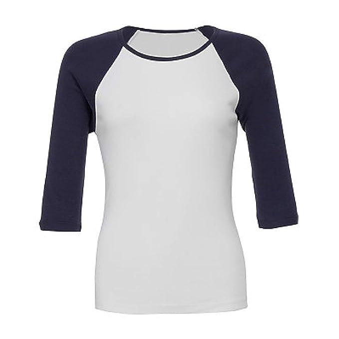 Canvas Unisex 3//4 Sleeve Baseball T-Shirt Bound Neck Triblend Slim Fit Tee Top
