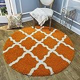 Cheap Maxy Home Bella Trellis Orange 5 ft. Round Shag Area Rug