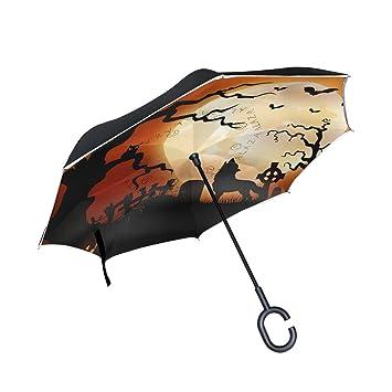 jstel doble capa puede calabazas de Halloween Noche lobo búho luna paraguas coches Reverse resistente al