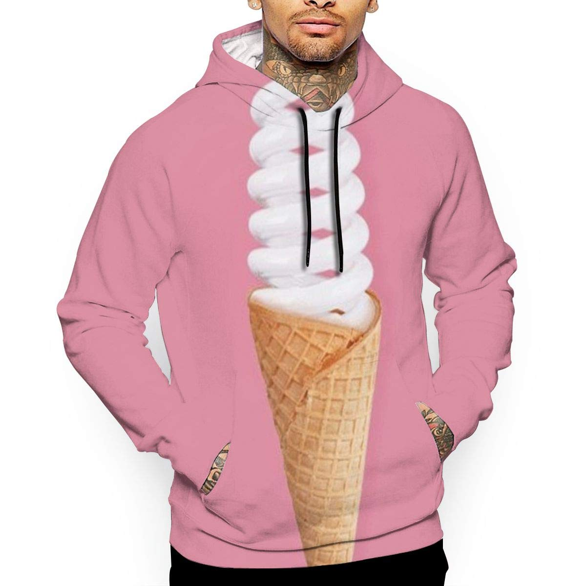 Bulb Ice Cream Creative Illustration T-Shirt Hooded with A Pocket Rope Hat Customization Fashion Novelty 3D Mens