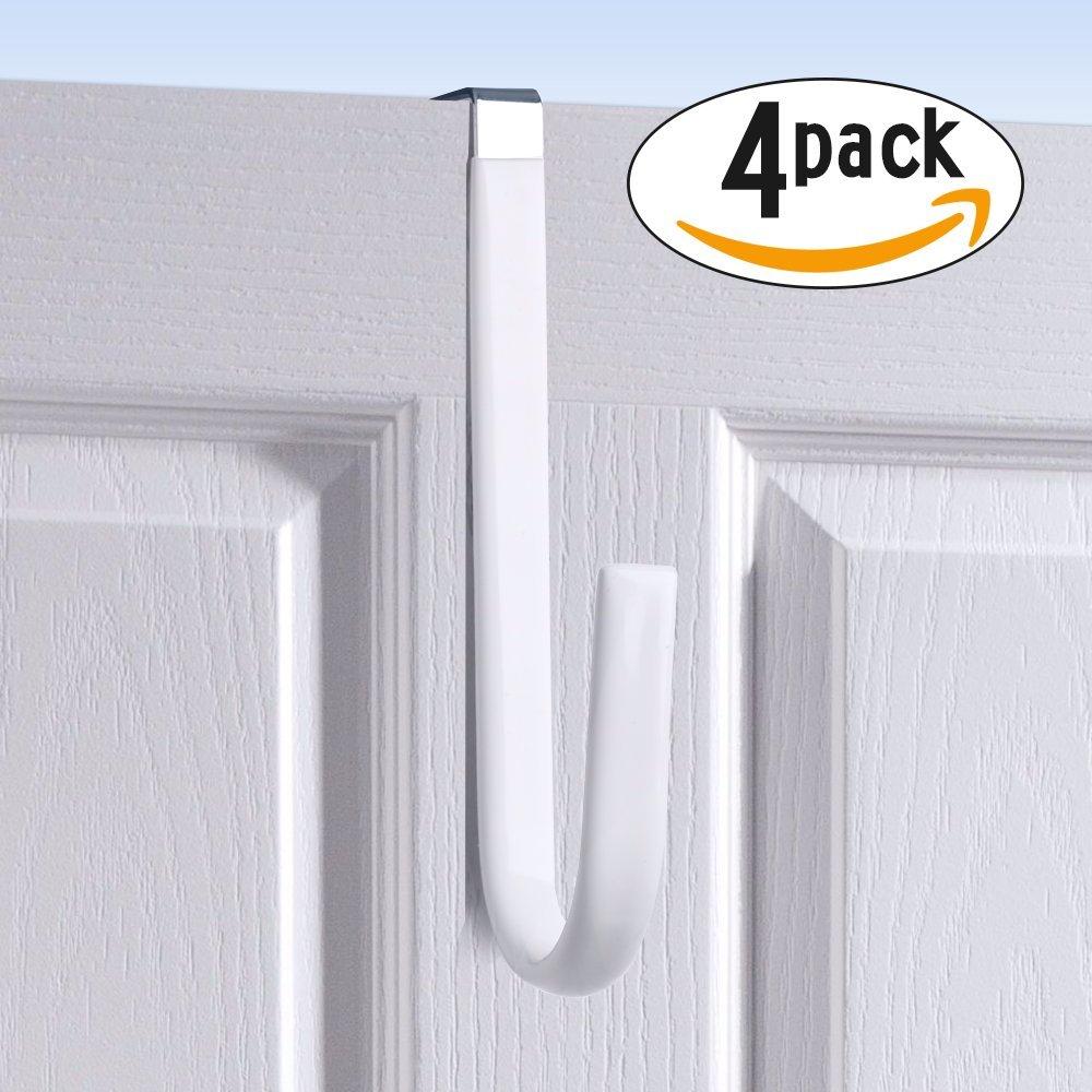 Over Door Hook White - Soft Rubber Surface Design to Prevent Article Scratches,Single Door Hook for Bathroom,Kitchen,Bedroom,Cubicle,Shower Room Hanging Towel,Clothes,Pants,Shoe Bag,Coat (4pack)