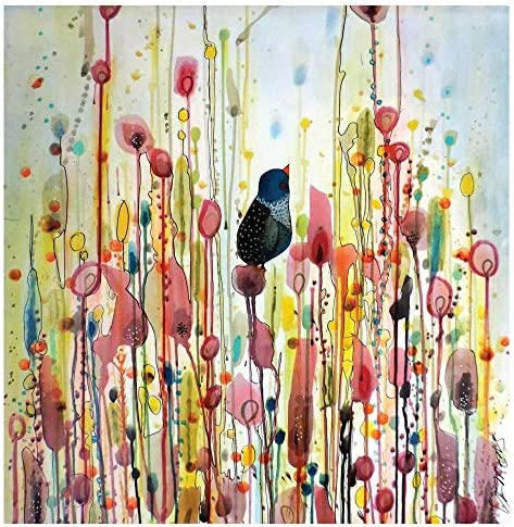 MyWonderfulWalls Bird and Flower Watercolor Painting Decal Ordinary Day by Sylvie Demers L