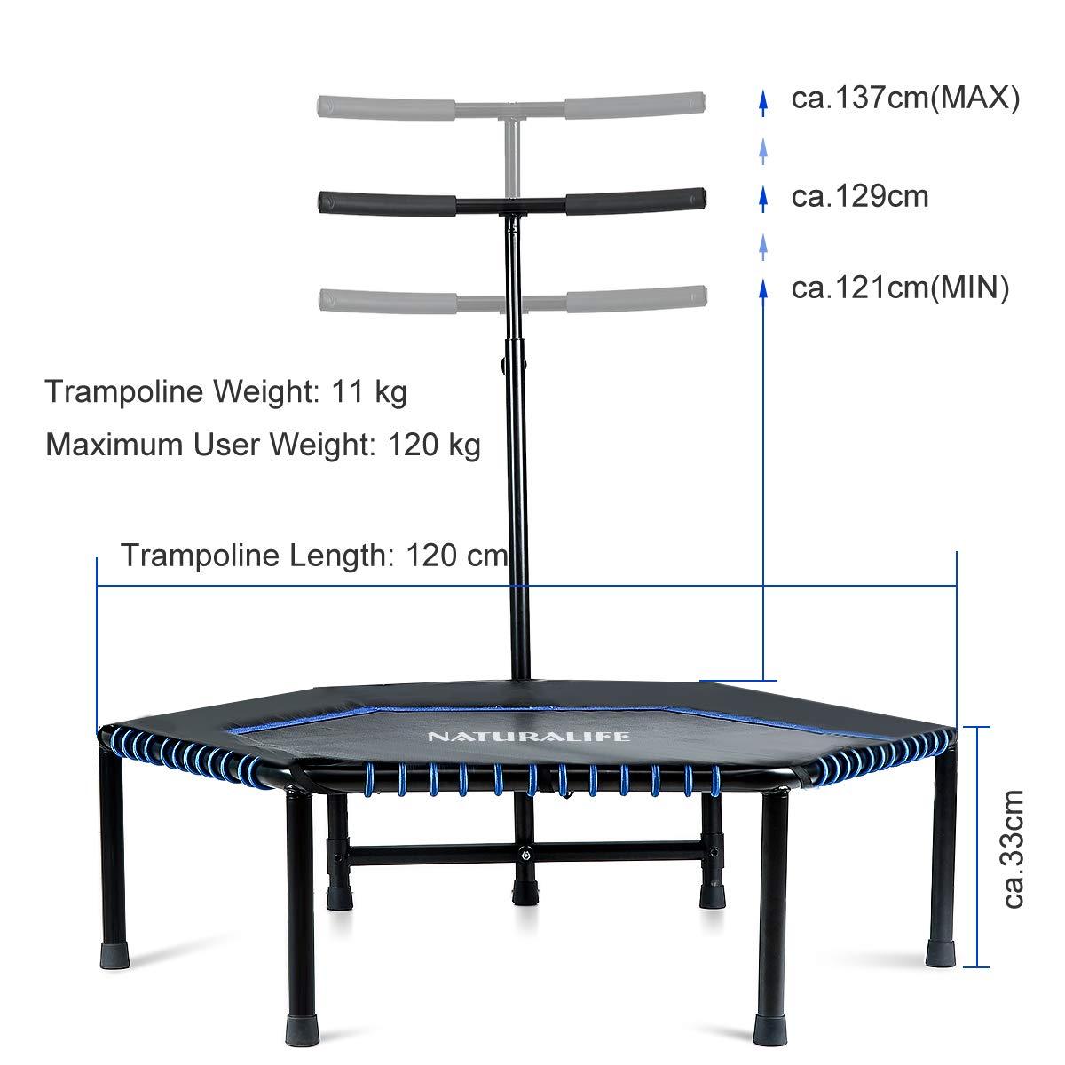 NATURALIFE Mini trampolín Fitness con Manillar, Cama elástica ...
