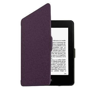 Funda de cuero con Iman Original para Kindle PaperWhite Morado