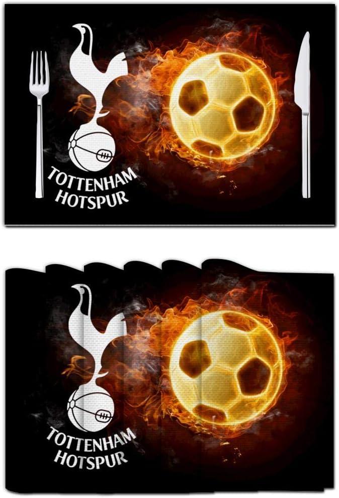 TSOSZMB To-tte-nham H-OT-SP-ur - Salvamanteles de futbolín para decoración del hogar 3D, Antideslizante, Lavable, Blanco, 6 Unidades: Amazon.es: Hogar
