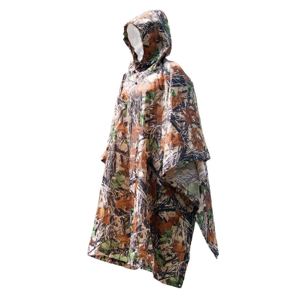 Ireav 3 in 1 Multifunctional Raincoat Outdoor Travel Rain Poncho Backpack Rain Cover Waterproof Tent Awning Climbing Camping Hiking