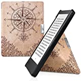 kwmobile Origami Case for Kobo Aura Edition 1 - Ultra Slim Fit Premium PU Leather Cover with Stand - Dark Brown Beige
