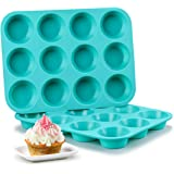 Silicone Muffin Pan Set - Cupcake Pans 12 Cups Silicone Baking Molds,BPA Free 100% Food Grade, Pinch Test Approved, Pack…