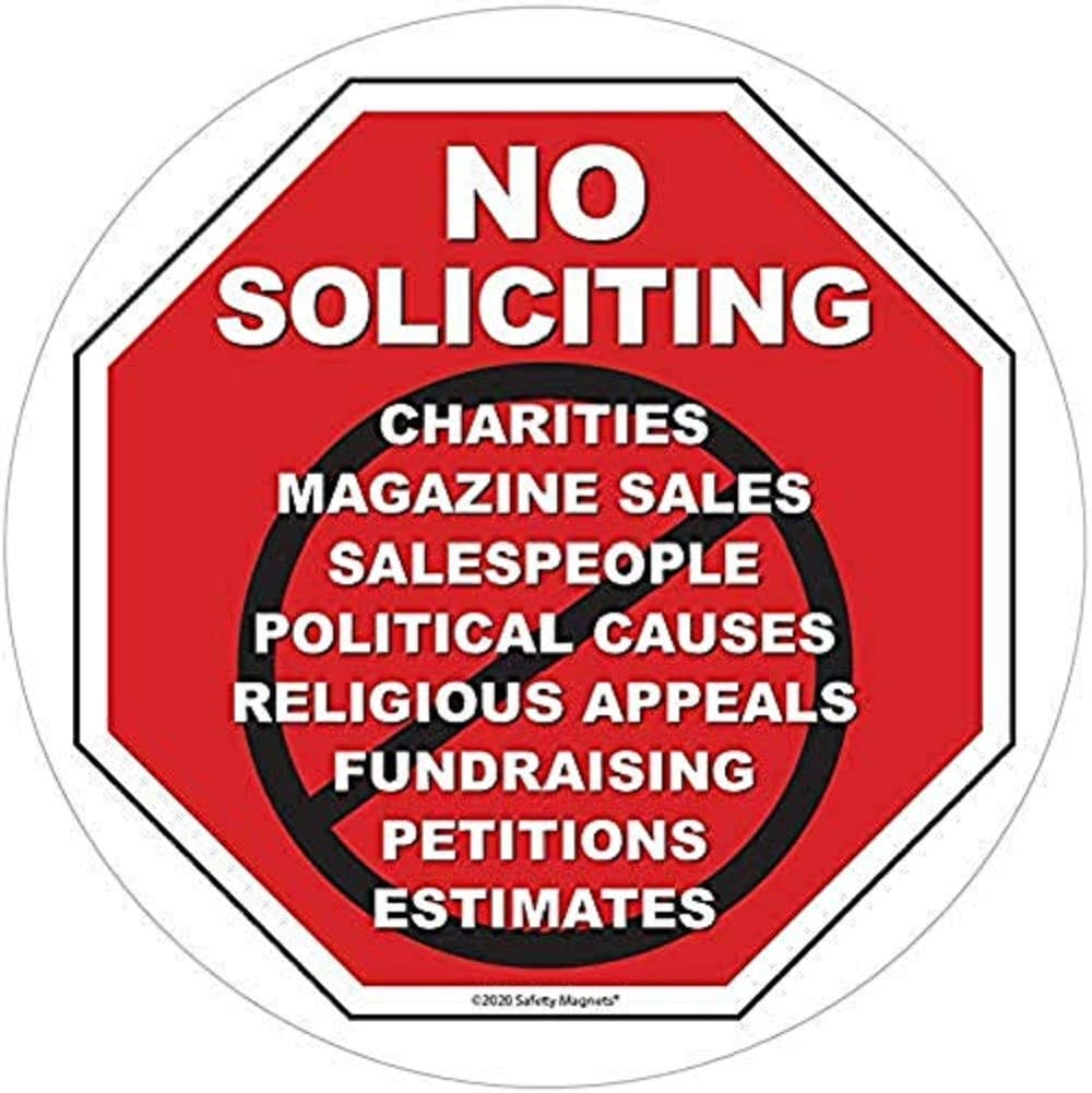 No Soliciting Vinyl Static Cling Decal | No Trespassers Sticker- for Homes, Offices, Businesses | Modern Door Porch Window Decor Sign | Black & Red | Inside Outside Removable (1, 6 INCH)