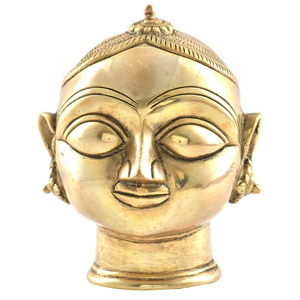 Indianshelf Handmade Brass Gauri Head Gangaur Lady Head Statues Decoration Designer Vintage Statement Pieces Online New by Indian Shelf
