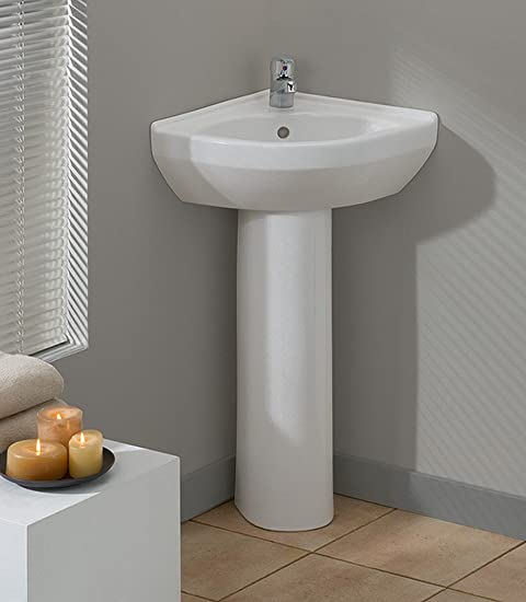 Cheviot Products Inc. 944-WH-1 Petite Corner Pedestal Sink, White